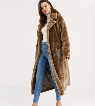 Asos Tall DESIGN Tall plush faux fur maxi coat with seam detailing-Gray