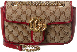 Gucci Marmont Mini Gg Canvas & Leather Shoulder Bag