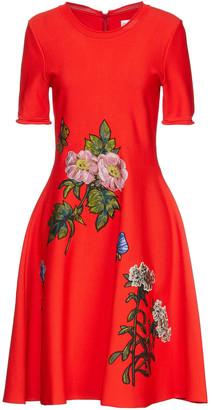 Oscar de la Renta Flared Embroidered Stretch-knit Dress