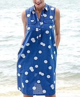 Navy & White Polka Dot Linen-Blend Sleeveless Dress