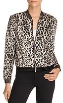 T Tahari Fatima Leopard Print Bomber Jacket