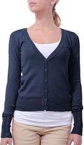 NE PEOPLE Light Button Down Long Sleeve V Neck Knit Cardigan-ECLIPSE-L