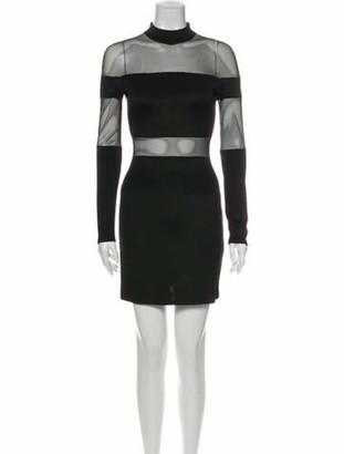Balmain Mock Neck Mini Dress Black