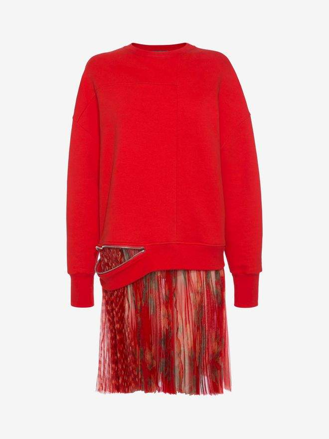 Alexander McQueen Sweatshirt Plisse Mini Dress
