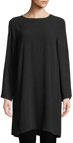 Eileen Fisher Silk Georgette Round-Neck Tunic