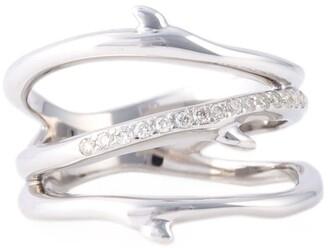 Shaun Leane sterling silver Cherry Blossom 3 branch diamond ring