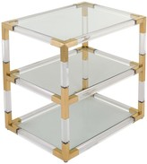 The Well Appointed House Adler Acrylic & Glass End Table with Bronze Brass Accents