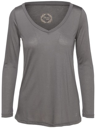 Conquista Dark Grey V Neck Top By Swl In Sustainable Fabric