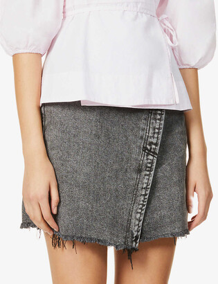 Free People Parker faded denim mini skirt
