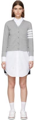 Thom Browne Grey Trompe LOeil Cardigan Shirt Dress