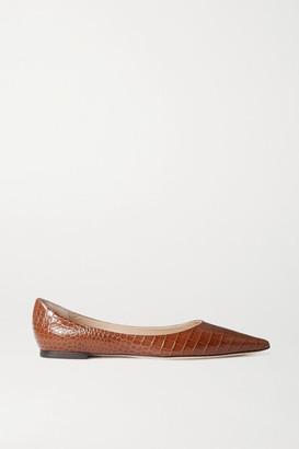 Jimmy Choo Love Croc-effect Leather Point-toe Flats - Tan