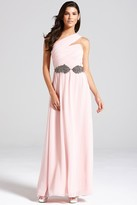 Thumbnail for your product : Little Mistress Nude One Shoulder Maxi Dress