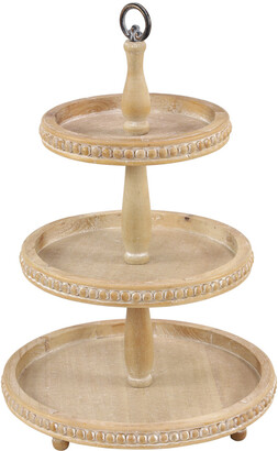 Uma Enterprises Tall Natural Beige Wood 3-Tier Round Serving Tray Stand