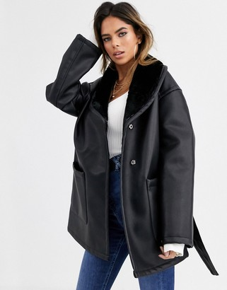 Asos Design DESIGN luxe leather look wrap over jacket in black