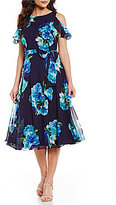 Jessica Howard Floral-Print Cold-Shoulder Chiffon Dress