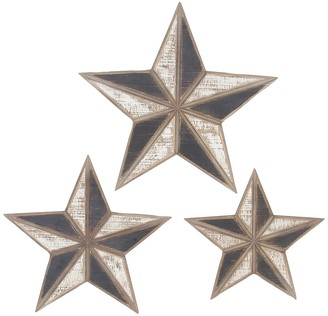 Uma Brown Farmhouse Wooden Star Decor - Set of 3