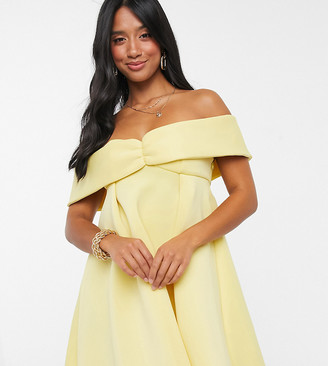 ASOS DESIGN Petite exclusive bardot baby doll mini skater dress in lemon