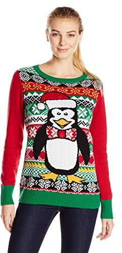 Ugly Christmas Sweater Women S Penguin Light Up Crew Neck Pullover Sweater