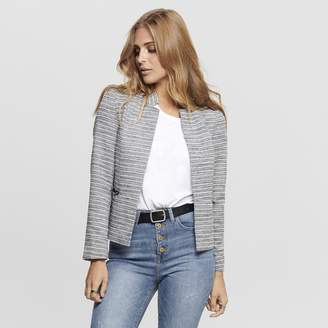 Only Striped High Neck Open Blazer with Pockets