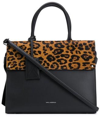 Karl Lagerfeld Paris K/Ikon Leopard Top Handle bag