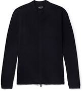 Giorgio Armani - Herringbone Virgin Wool-blend Zip-up Sweater