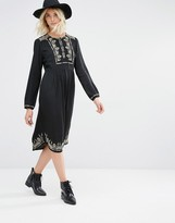 Gat Rimon Lori Long Sleeve Embroidered Dress