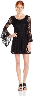 Vintage Havana Women's Lace V-Back Bell Sleeve Dress