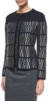Escada Long-Sleeve Metallic Chevron Cardigan, Black
