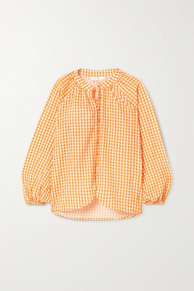 Peony Swimwear + Net Sustain Gingham Organic Cotton And Ecovero-blend Blouse - Orange