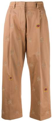 Tommy Hilfiger cropped embroidered crest trousers