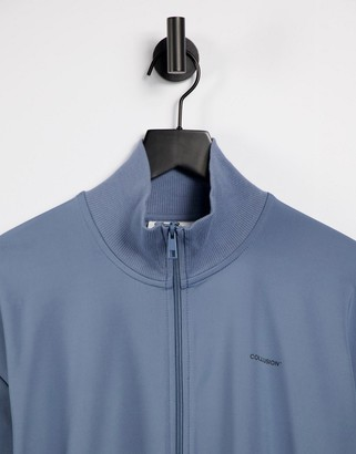 Collusion Unisex track jacket in poly tricot in dusty blue co