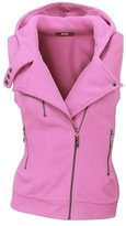 Allonly Muticolor Oblique Zipper Design Women Leisure Pure Hooded Wool Vest Jacket