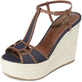 Sergio Rossi Easy Puzzle Denim Wedges
