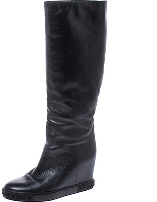 Casadei Black Leather Chain Motif Knee Boots Size 38
