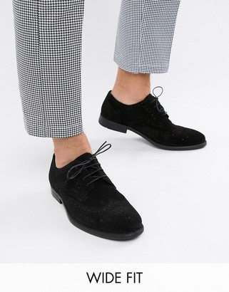 Asos Design DESIGN Wide Fit derby brogue shoes in black suede