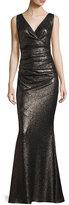 Talbot Runhof Bossa Sequined Ruched Sleeveless V-Neck Gown, Dark Silver