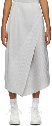 Pleats Please Issey Miyake Grey Diagonal Pleats Long Skirt
