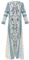 D'Ascoli Mecox Floral-print Silk Maxi Dress - Womens - Blue Print