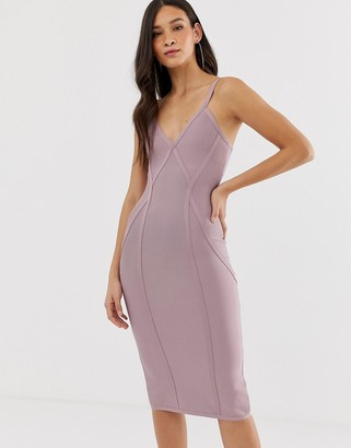 The Girlcode bandage v neck plunge dress with contour lines midi dress in lilac