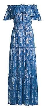 Shoshanna Women's Milani Metallic Floral Off-The-Shoulder Silk Maxi Dress - Size 0