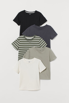 H&M 5-pack Cotton T-shirts - Green
