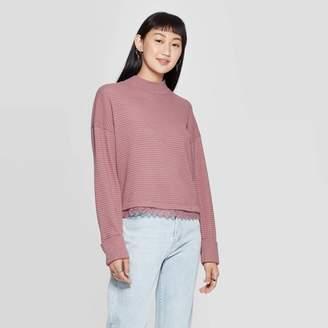 Xhilaration Women's Long Sleeve Lace Trim Mock Turtleneck Pullover - XhilarationTM