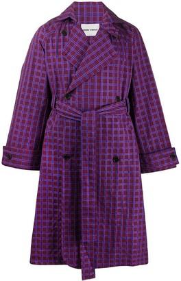 Henrik Vibskov Check Print Belted Trench Coat