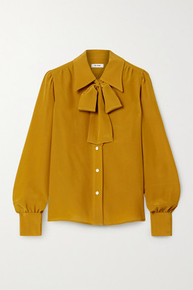 RE/DONE Pussy-bow Silk Shirt - Yellow