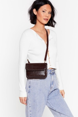Nasty Gal Womens WANT Better Croc Tell Crossbody Bag - Brown - One Size