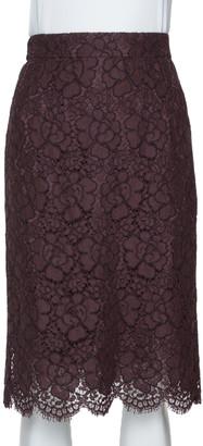 Dolce & Gabbana Dark Purple Corded Lace Pencil Skirt S