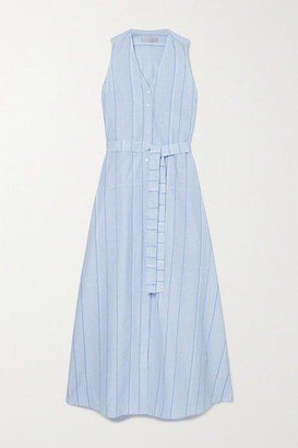 Palmer Harding Sedona Striped Belted Cotton And Linen-blend Maxi Shirt Dress - Light blue