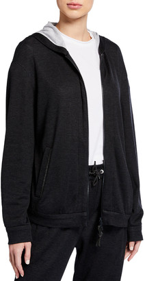 Brunello Cucinelli Cotton-Silk Hooded Track Jacket with Monili Trim
