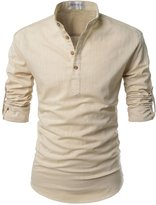 NEARKIN (NKNKN350) Beloved Men Henley Neck Long Sleeve Daily Look Linen Shirts SKY
