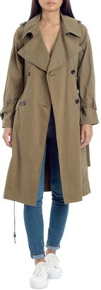 AVEC LES FILLES Raglan Double-Breasted Long Trench Coat